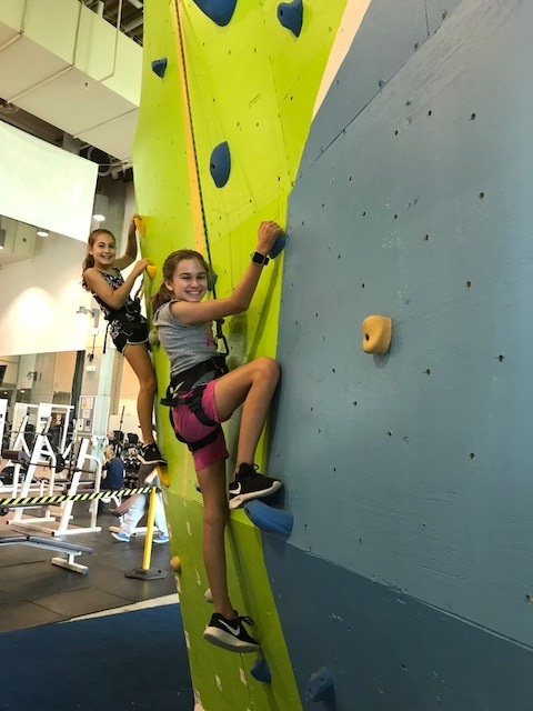 Girls Climbing the Climbing Wall