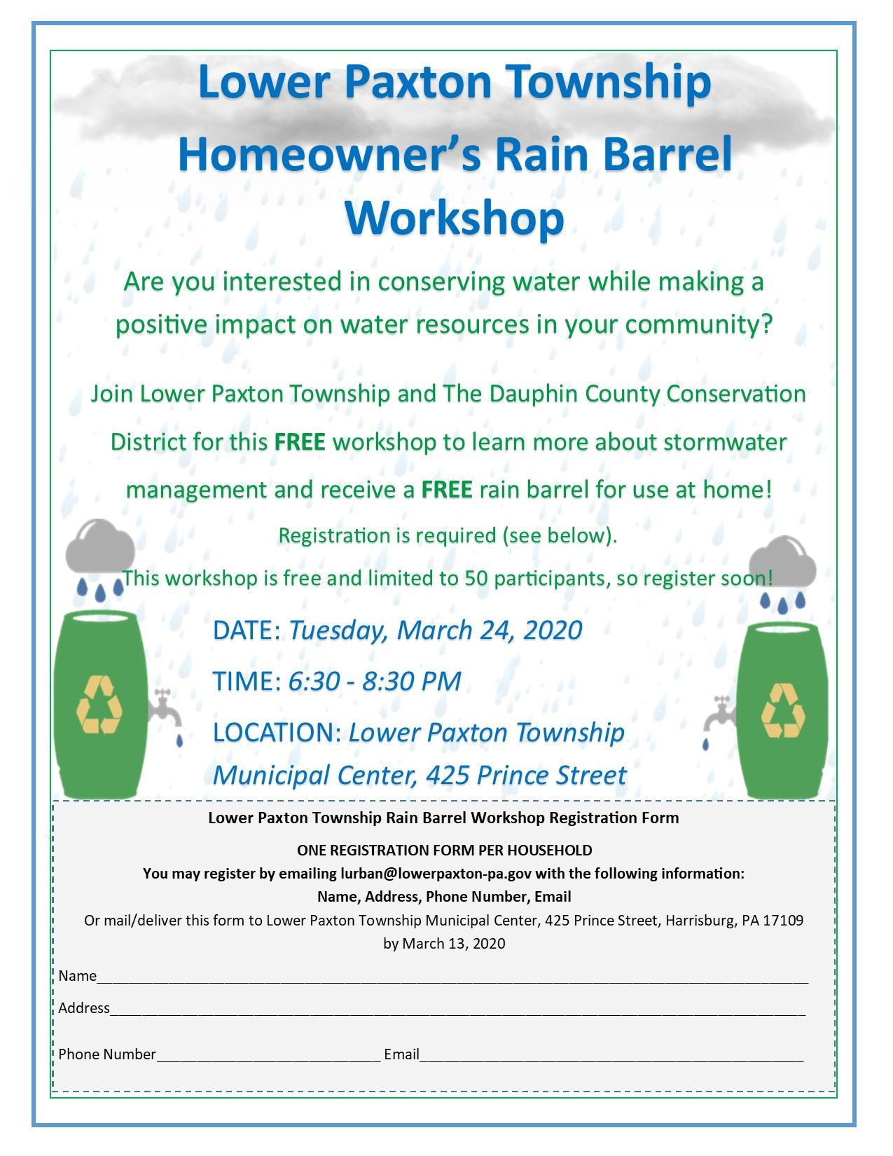 MUNICIPAL FLYER LOWER PAXTON - Rain Barrel Workshop March 2020