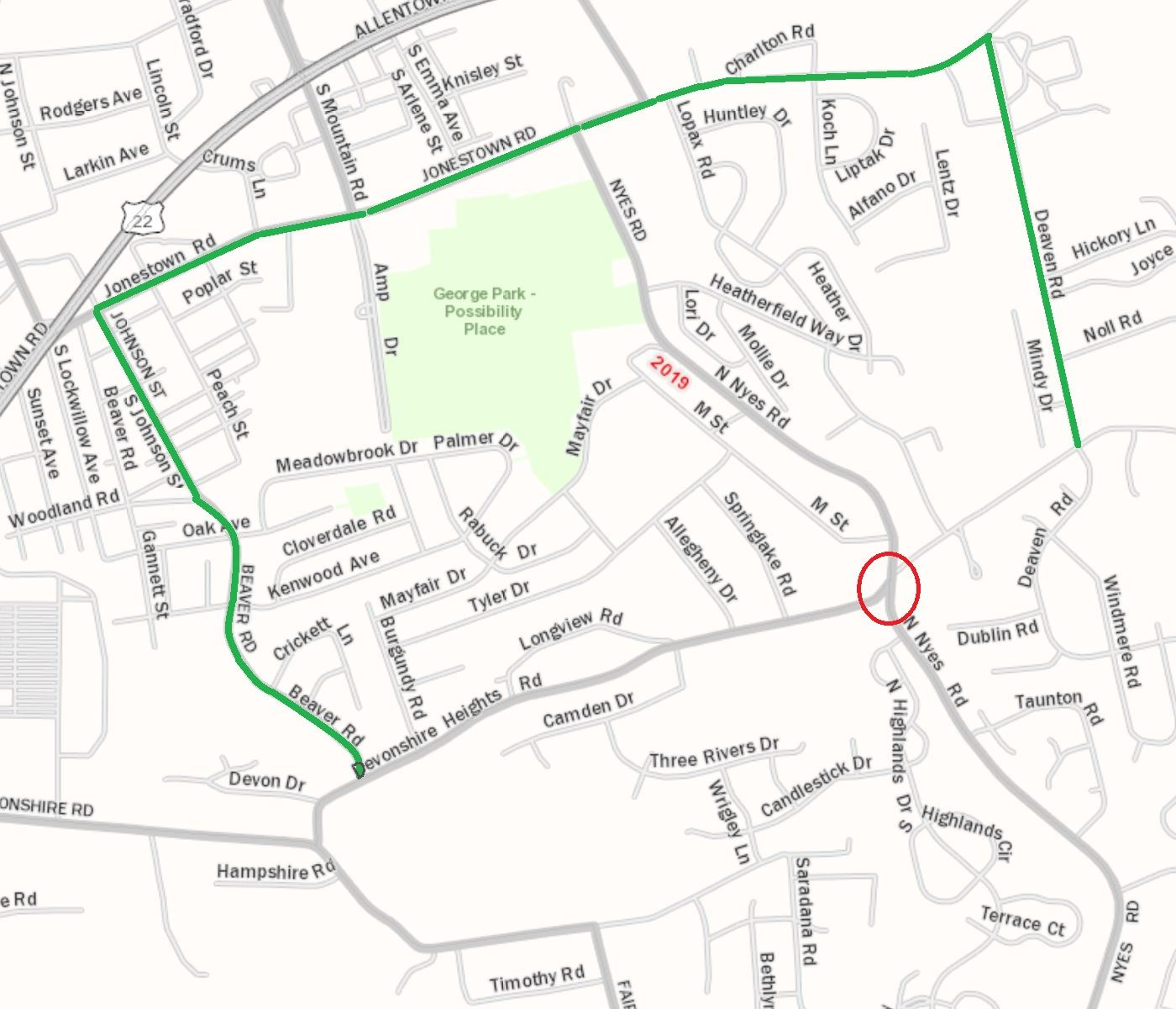 Devonshire Heights Road Detour May 2020